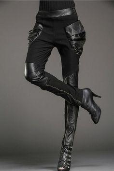 sekigan:  Women Punk Harem Elastic Skinny Pants Trousers Black Splicing Leather…