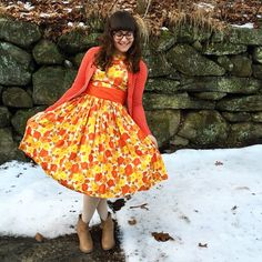 If you wear a lot of orange and yellow on a snowy day, will the sun come out? ☀️ #capsulevintage #vintagestyle #vintage #vintagedress #dressobsessed #ootd #ootdshare #ootdsocialclub #mylook #mystyle #instastyle #instafashion #whatiworetoday #whatiwore #wiw #modernpinup #sweaterweather #manicmonday #outfit #dress