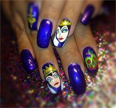 Hand Painted Evil Queen  by Nailsbydina - Nail Art Gallery nailartgallery.nailsmag.com by Nails Magazine www.nailsmag.com #nailart