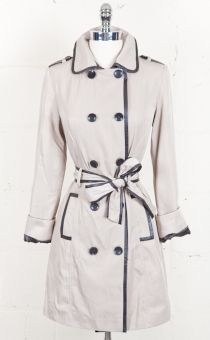 Leatherette Trimmed Trench