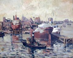 "Beyer, Tom (1907 Münster – 1981 Stralsund) ""Im Stralsunder Hafen"" Öl/Leinwand, u.l.sign., o"