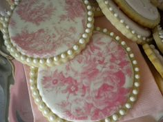 "Toile cookies made with ""wafer paper"".  Printed toile paper can be ordered from fancy flours.com"