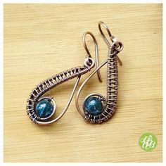 Teal green earring,  copper wire earring,  dangle earring copper,  wire wrapped earring design,  woven earring,  wire jewelry, glass earring,  fromronikwithlove,  boho earrings