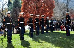 11/4/2013 - A U.S. Marine Corps Honor Guard prepares to present the 21-gun salute at retired Cmdr. Scott Carpenter's funeral Nov. 2, 2013, at St. John Episcopal Church in Boulder, Colo. Carpenter was the first human ever to hold the title of astronaut and aquanaut. He was the fourth American astronaut to fly in space and the second to orbit the Earth. (U.S. Air Force photo by Staff Sgt. Lucas Morrow/Released)