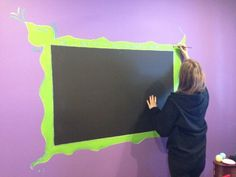 Chalk board paint for the kids, paint the wall with chalkboard paint from Home depot and let your kids paint a frame around it. Mine loved doing this! by Krista Keke Patton Chalkboard Spray Paint, Chalkboard Signs, Oil Drip Pans, Chalk Ink, Chalk Drawings, Prayer Board, Great Christmas Gifts, Easy Paintings, Painting For Kids