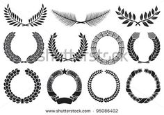 Wreath set (wreath collection, laurel wreath, oak wreath, wreath of wheat, palm wreath and olive wreath) - stock vector