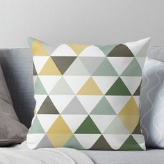 'Ochre, green and grey triangles' Throw Pillow by F Designs Living Room Decor Colors, Living Room Color Schemes, Living Room Green, Bedroom Green, Room Colors, Bedroom Decor, Colours, Throw Pillows Bed, Decorative Throw Pillows