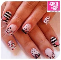 stripes, leopard and polka dots are made for me Fabulous Nails, Perfect Nails, Fancy Nails, Pretty Nails, Pink Black Nails, Zebra Nail Art, Valentine Nail Art, Polka Dot Nails, Polka Dots