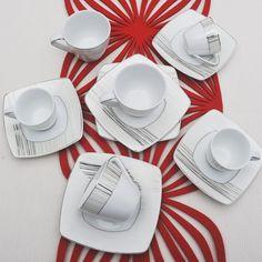 Έξι φλυτζάνια με τα πιατάκια τους για τον καφε ή το τσάι και 6 φλυτζάνια του ελληνικού καφέ ή του εσπρέσσο, σε τετράγωνο σχήμα από ευρωπαϊκή πορσελάνη με σχέδια πλατίνα Tableware, Dinnerware, Tablewares, Dishes, Place Settings