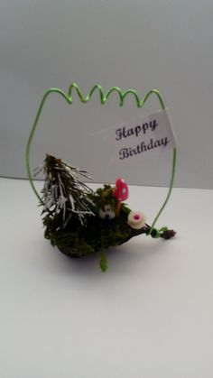 tiny house birthday , happy birthday gift, vintage style, unusual gift idea, winter, seed pod by jansfabfairies on Etsy