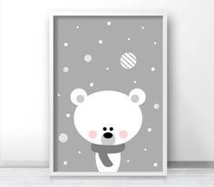 Polar Bear Christmas Print, Printable Christmas Decor, Instant Download Christmas Art, Holiday Print, Christmas Printables, Digital Print