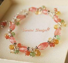 Flowering- Fine/sterling Silver,Cherry quartz,Citrine,sunstone,tsavorite garnet bracelet