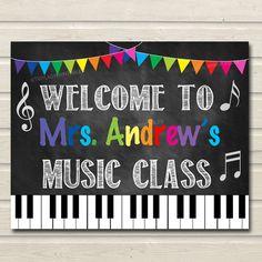 Music Teacher Classroom Door Sign, Printable Classroom Decor, Custom Teacher…