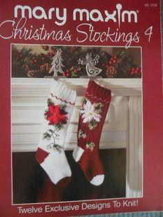 MARY MAXIM CHRISTMAS STOCKINGS 4 To Knit 12 Designs #MaryMaxim