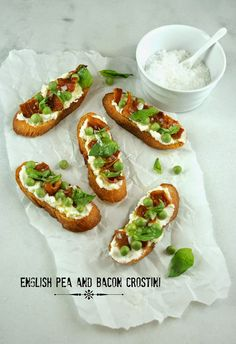 Authentic Suburban Gourmet: English Pea and Bacon Crostini | Friday Night Bites