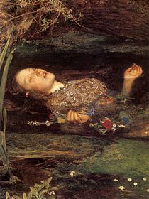 Ophelia (painting) by John Everett Millais. The painting is known for its depiction of the detailed flora of the river and the riverbank, stressing the patterns of growth and decay in a natural ecosystem.  - Wikipedia