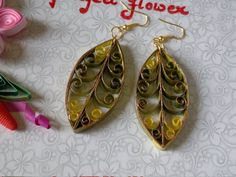 Green Leaf Paper Quilling Earring