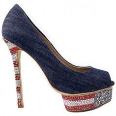 Lesilla denim pumps, heels 14 cm, heels and external platform covered with Swarovski crystals design USA, open toe.