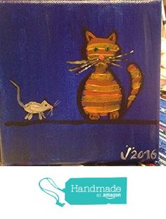 Cat and mouse painitng https://www.amazon.com/dp/B01N2KHDDE/ref=hnd_sw_r_pi_dp_C4rnybCKAESTV #handmadeatamazon