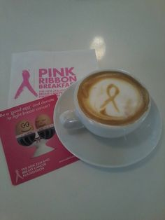 Pink Ribbon Latte anyone? Very impressed with Gabrielle's barista skills