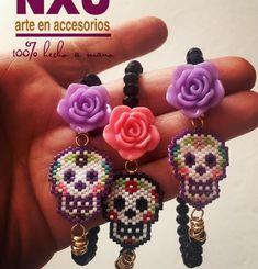 Beaded Earrings, Beaded Jewelry, Handmade Jewelry, Beaded Bracelets, Bracelet Crafts, Jewelry Crafts, Jewelry Patterns, Beading Patterns, Sugar Skull Jewelry