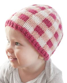 Knitting Pattern for Buffalo Plaid Baby Hat - Knitting pattern for 3 color plaid baby hat in sizes 0-3 months, 6 months, 12 months, 2T+ Designed by Cassie at Little Red Window.