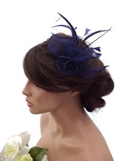 Elegant Mesh Navy Blue Flower Hair Clip Grip Fascinator With Feathers Corsage