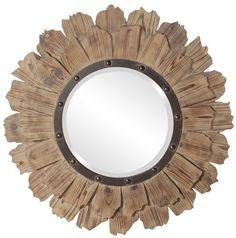 Hawthorne Natural Wood And Black Iron Round Mirror Howard Elliott Collection Round Mirrors Round Wall Mirror, Round Mirrors, Mirror Mirror, Wall Mirrors, Large Mirrors, Antique Mirrors, Vanity Mirrors, Rustic Mirrors, Magic Mirror