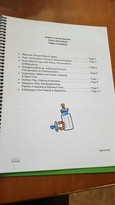 Daycare parent policy hand book