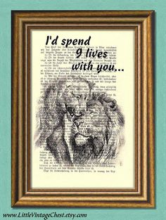 9 LIVES WITH YOU  Dictionary Art Print  Wall by littlevintagechest, $7.99 Dictionary Art, Wall Art Prints, Promotion, Wall Decor, Creative, Quotes, Pictures, Life, Etsy