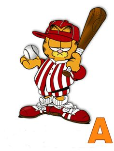 Garfield Baseball Letter and Word Graphics and GIFs. Garfield Baseball Animations and Pictures. Garfield Baseball Alphabet Gif Images and Graphics. Garfield Quotes, Garfield Cartoon, Garfield And Odie, Garfield Comics, Famous Cartoons, Disney Cartoons, Alphabet, Gifs, Images Snoopy