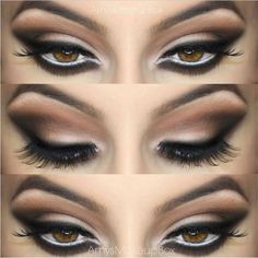 Nude palette eyes great for both latin and standard ballroom. Don't forget to makeup your eyebrows! A white waterline will also help make the eyes pop. Visit http://ballroomguide.com/comp/hair_make_up.html for more hair and makeup info