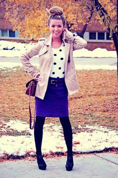 Fall: Polka dots, blue pencil skirt, black tights