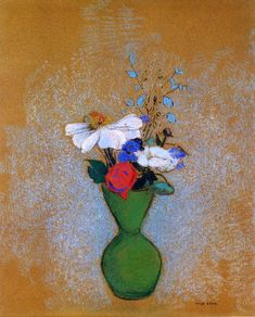 Rose, Peony and Cornflowers in a Green Vase, Odilon Redon  Size: 56x45.5 cm  Medium: pastel on paper
