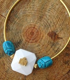 Handmade Festival Necklace Boho Tribal Statement Scarab by Zellla