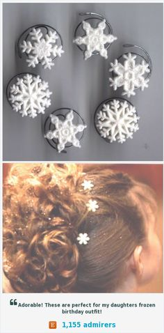 Frozen Snowflake Hair Swirls in White Glitter Hair Jewelry Spins Spirals Twists Debs Twisties Hairswirls1 Perfect for flower girls in a winter wedding too! https://www.etsy.com/listing/180953264/