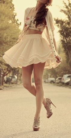 Skirt and shoes, not shirt
