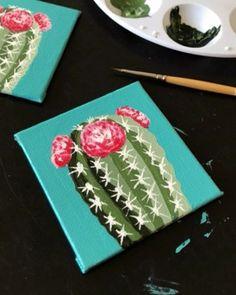 artsy fartsy Cactus Painting, Cactus Art, Diy Painting, Cactus Flower, House Painting, Kids Canvas, Mini Canvas Art, Guache, Easy Paintings