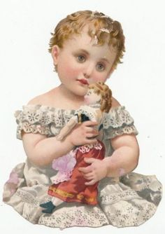28453 Circa Late 1800s Little Girl with Doll Die Cut Ephemera | eBay
