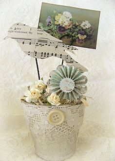 Handmade Bird Flower Pot Vintage Peat Pot Handmade by QueenBe, $18.25
