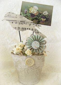 Handmade  Bird Flower Pot Vintage Peat Pot  Handmade by QueenBe,