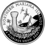 Northern Mariana Islands - November 2009 (March Northern Mariana Islands Near the shore stands a large limestone latte, a canoe of the indigenous Carolinians, two white fairy tern birds, and a Carolinian mwar borders the bottom. Nebraska, Oklahoma, Wisconsin, Ohio, State Quarters, Valuable Coins, 50 States, United States, Crater Lake