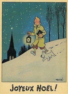 'Joyeaux Noel' from Tintin - (vintage Chrismas, greeting card) Gravure Illustration, Illustration Noel, Christmas Illustration, Illustrations, Vintage Christmas Images, Vintage Holiday, Vintage Comics, Vintage Posters, Herge Tintin