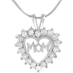 Journee Collection Sterling Silver CZ Mother's Day Heart Necklace ($17) ❤ liked on Polyvore featuring jewelry, necklaces, white, cz pendant necklace, heart pendant, sterling silver necklace, cubic zirconia pendant necklace and cubic zirconia heart necklace