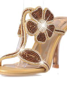 991bb2bcd748 Elegant Floral Rhinestone High Heel Sandals