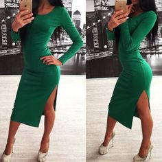 Autumn Sexy Long Sleeve O Neck Side Split Sheath Dress For Women Fashion Casual Solid Green Knitting Knee-Length Bodycon Dresses