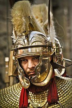 Roman legionary in lorica squamata armour and Imperial-Gallic helmet.