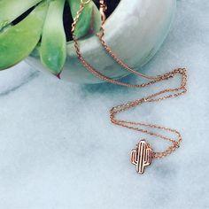 Dainty Pink Rose Gold Cactus Necklace, Sweet Succulent Minimalist Jewelry, Cactus Plant Charm/Boho Desert Pendant Gift Nature Saguaro Cacti