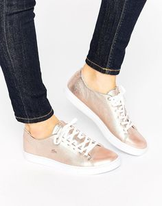 12bda5bff05af9 Lacoste Showcourt Lace 2 Rose Gold Leather Trainers at asos.com
