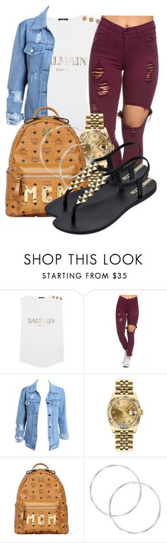 """• Classy BTS Fit •"" by sarajordan2993 on Polyvore featuring Balmain, Rolex, MCM and IPANEMA"